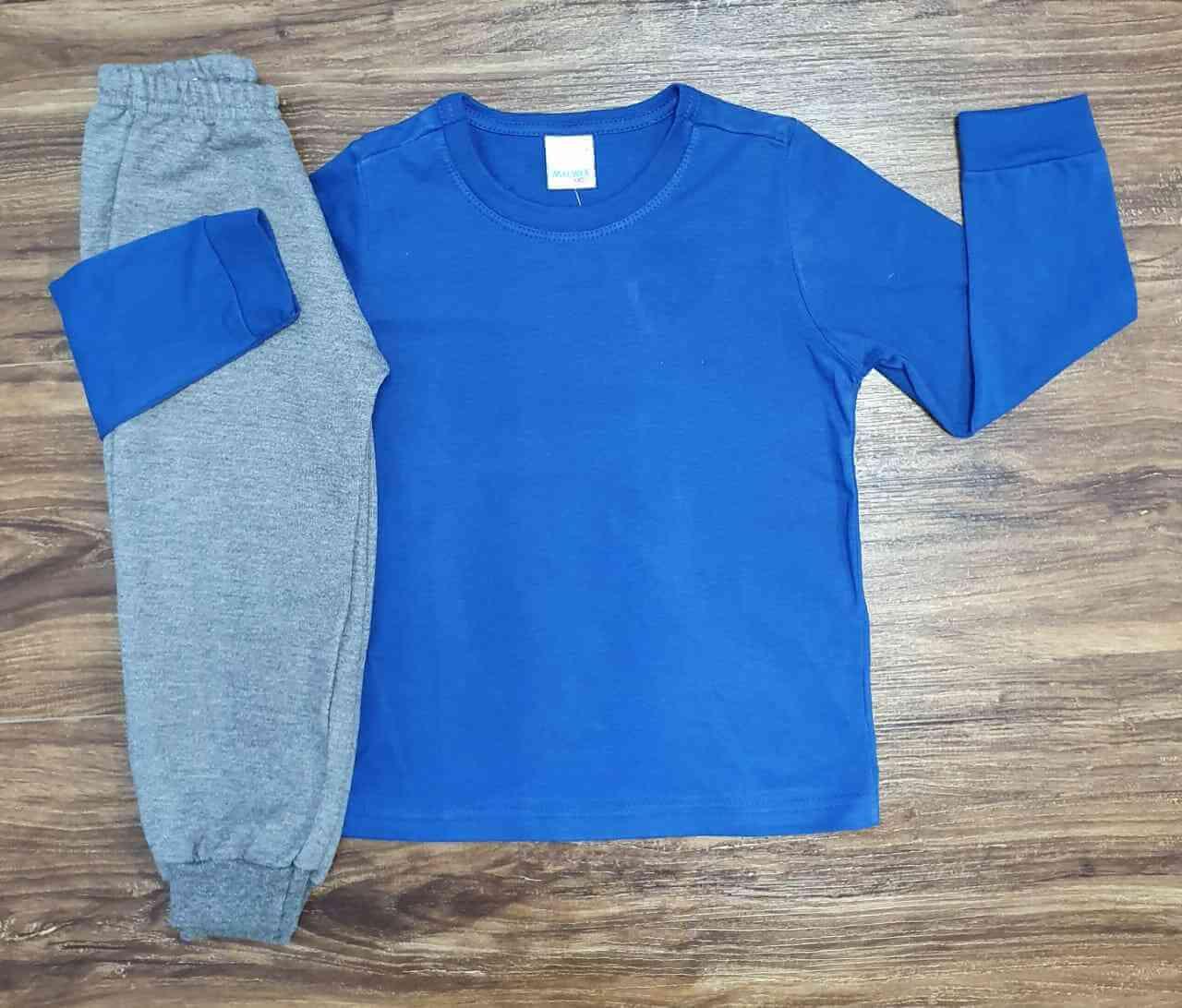 Camiseta Azul Manga Longa com Calça Moletom Infantil