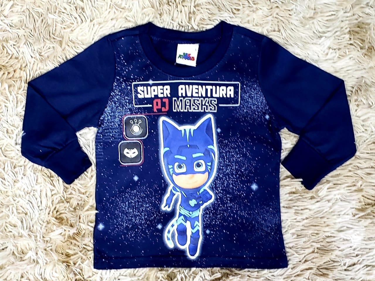 Camiseta Azul Marinho Manga Longa PJ Masks