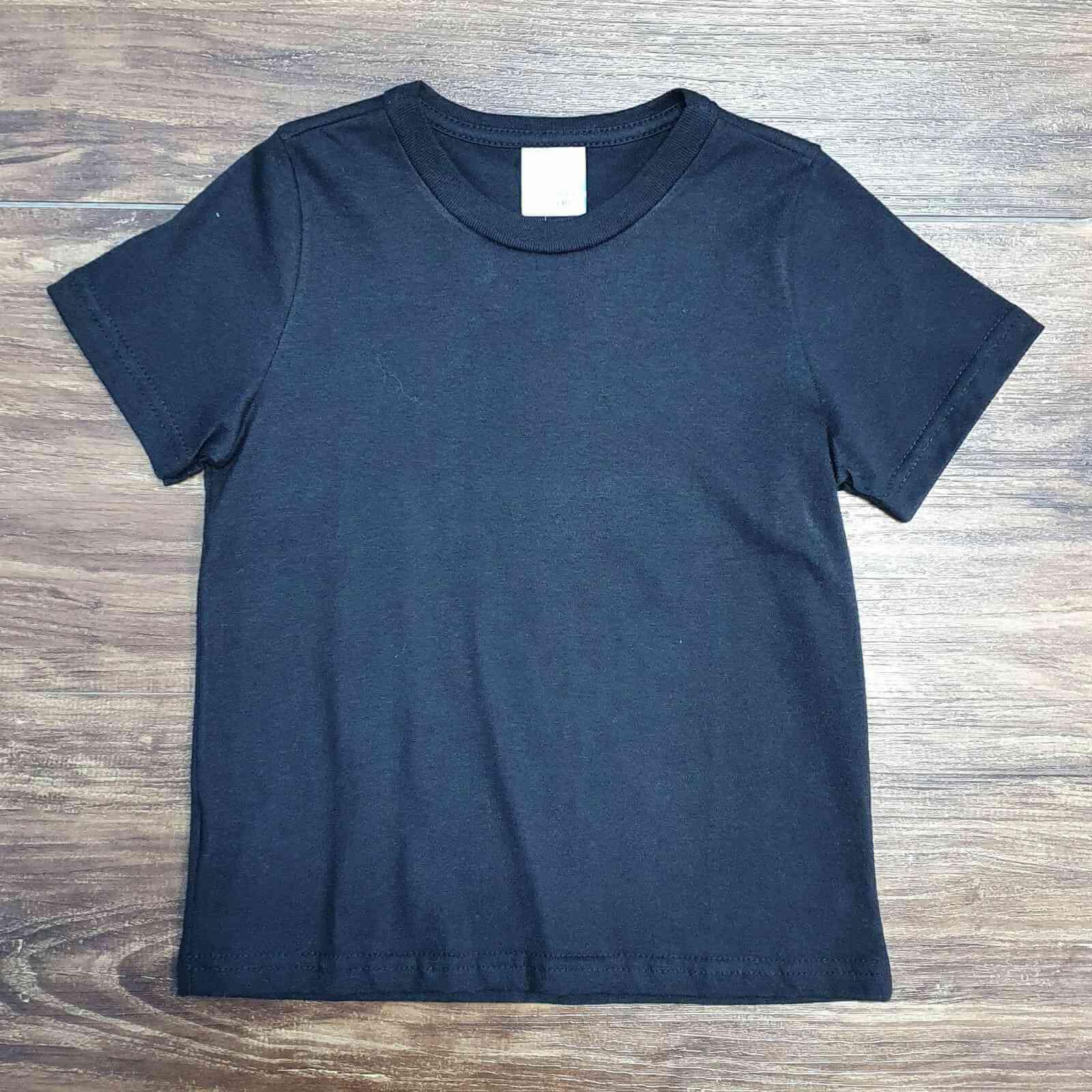 Camiseta Básica Preta Manga Curta Infantil