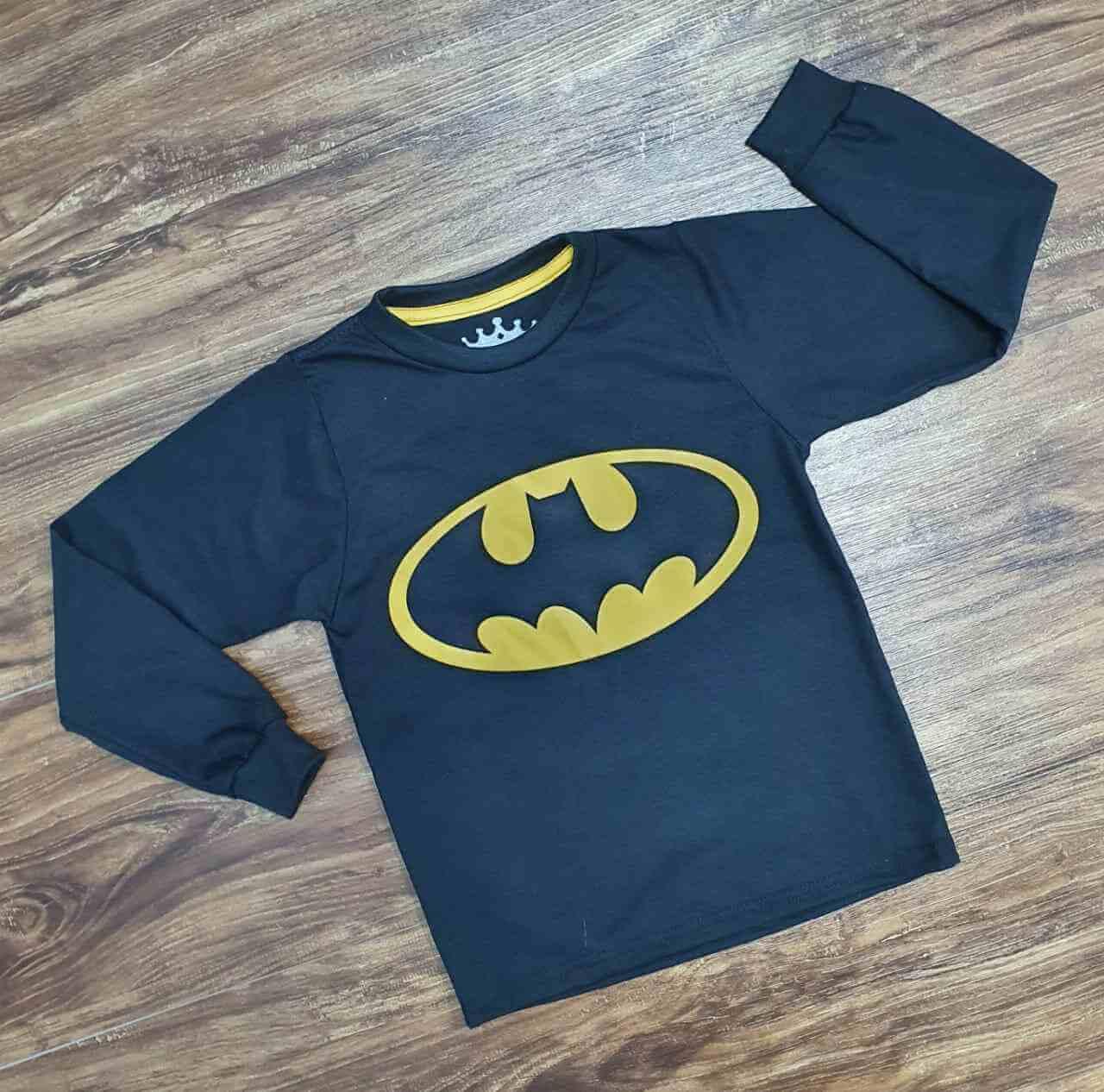 Camiseta Batman Manga Longa Infantil