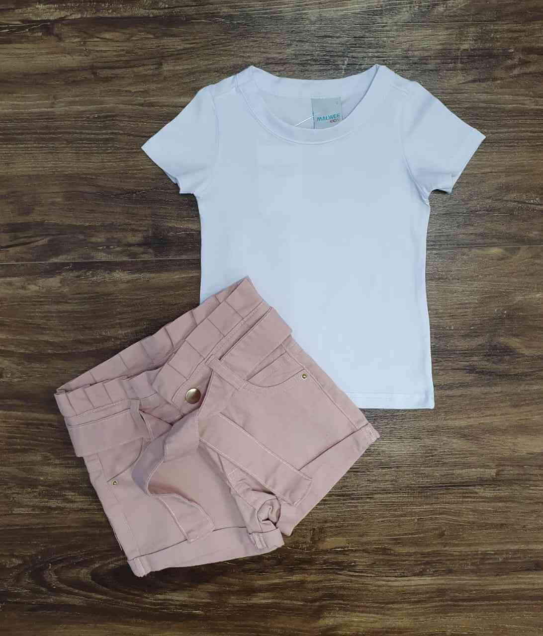 Camiseta Branca com Shorts Infantil