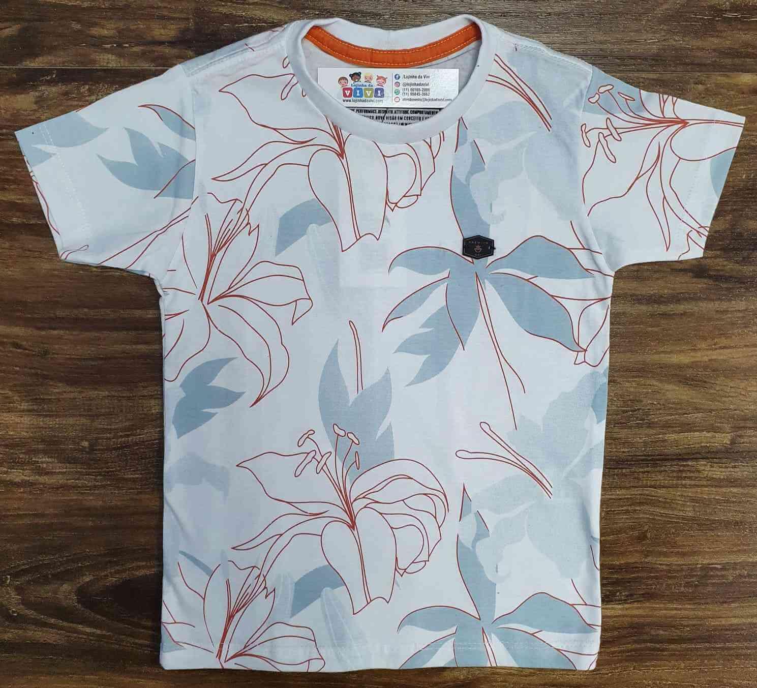 Camiseta Branca Floral Infantil