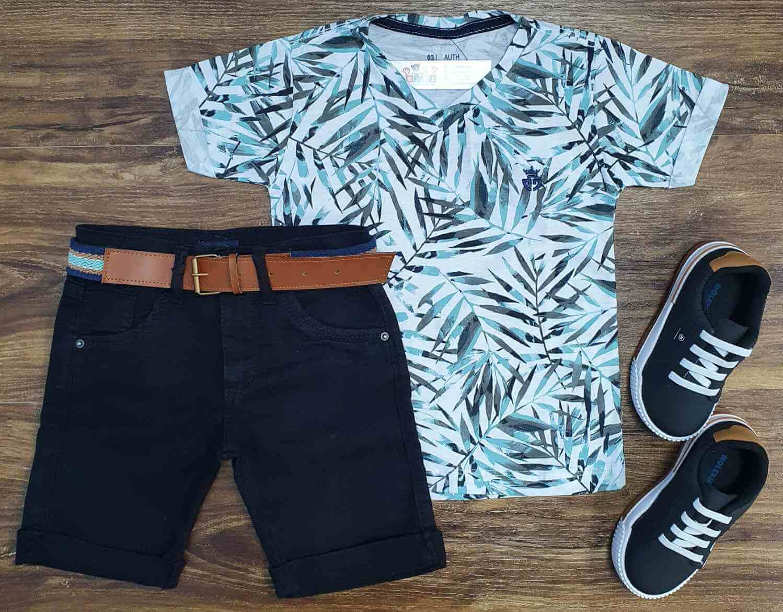 Camiseta Branca Folhas com Bermuda Jeans Infantil