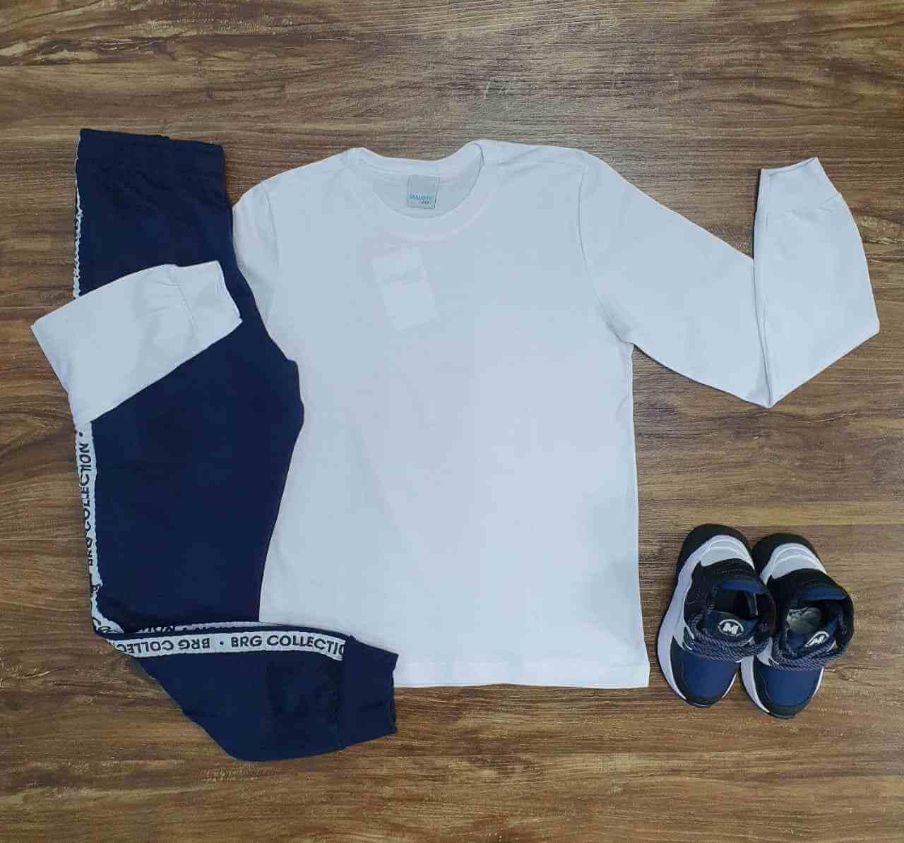 Camiseta Branca Manga Longa com Calça Moletom Infantil