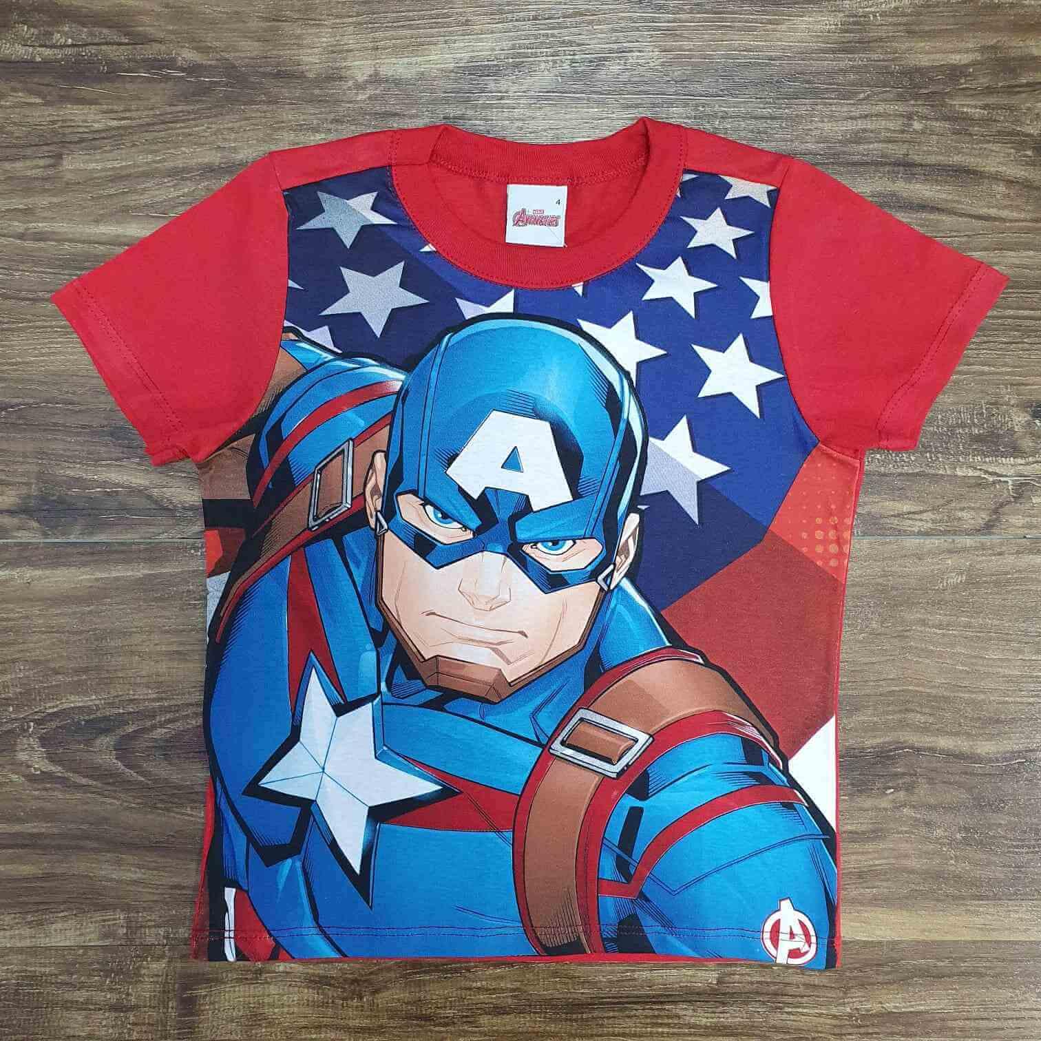 Camiseta Capitão América Vermelha Infantil