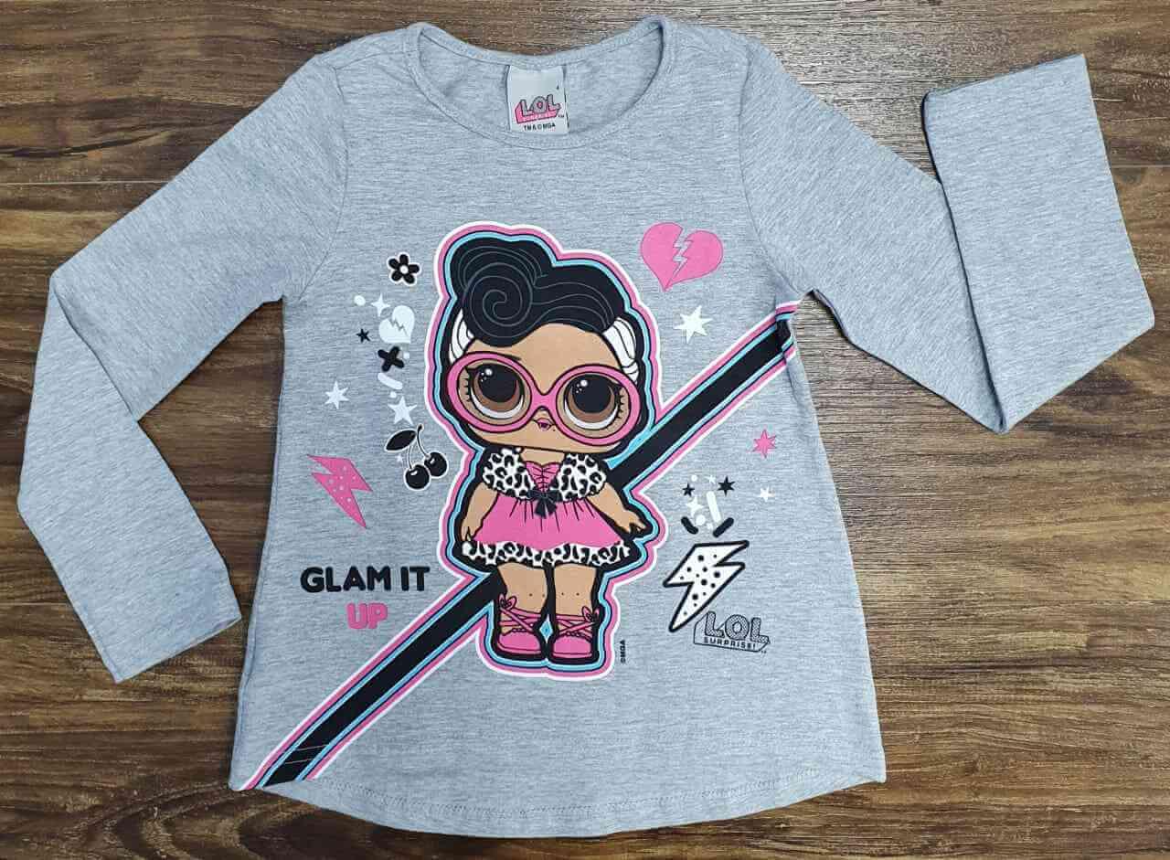 Camiseta Cinza Lol Glam It Infantil