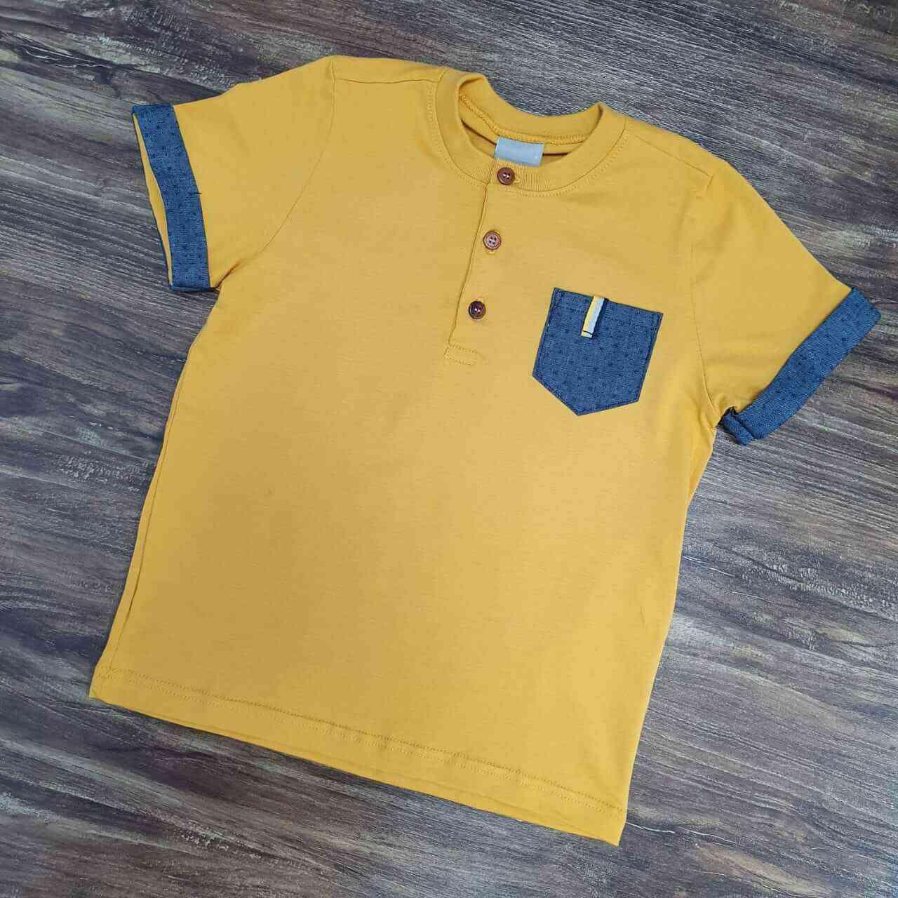 Camiseta com Bolso Amarela Infantil