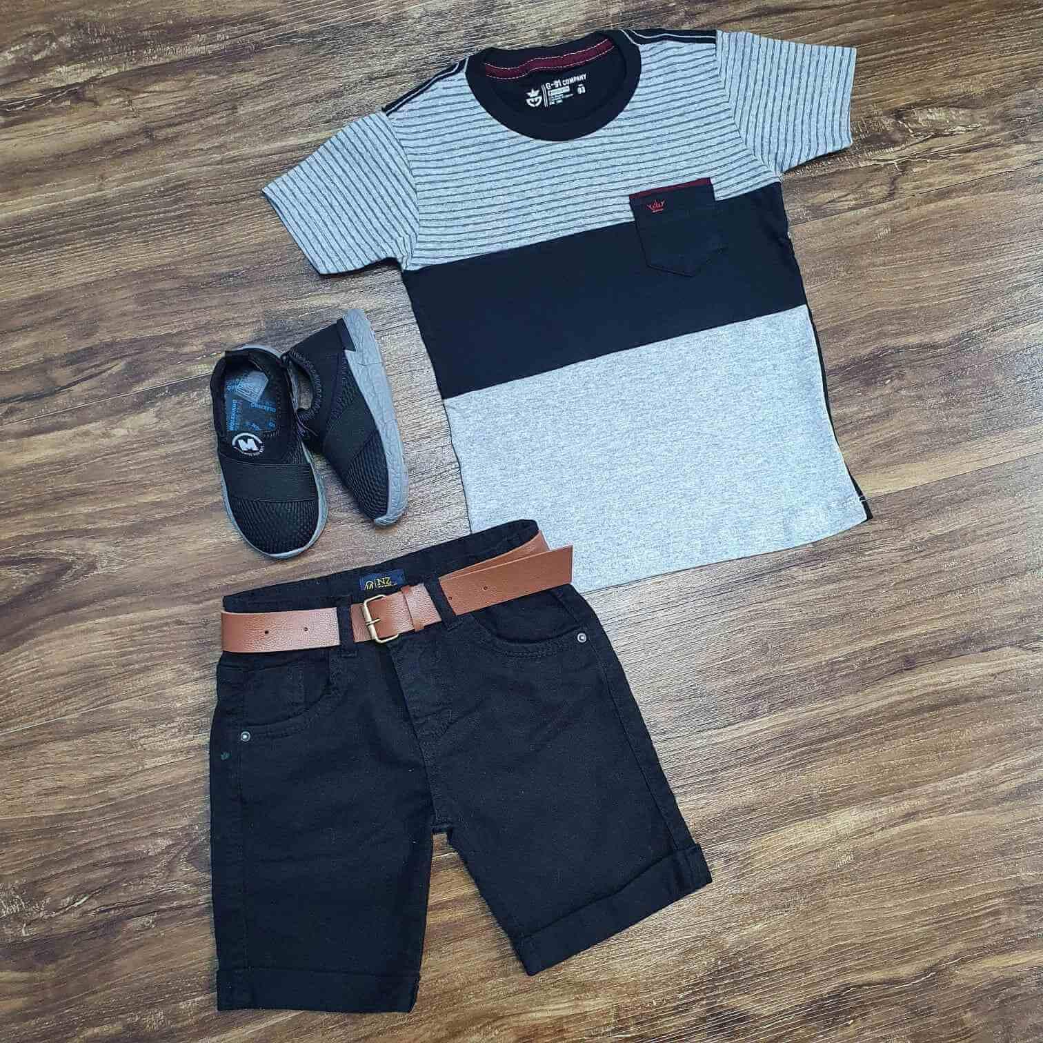 Camiseta com Bolso Cinza Mais Bermuda Jeans Infantil