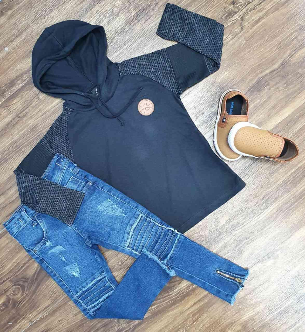Camiseta Com Capuz Mais Calça Jeans Infantil