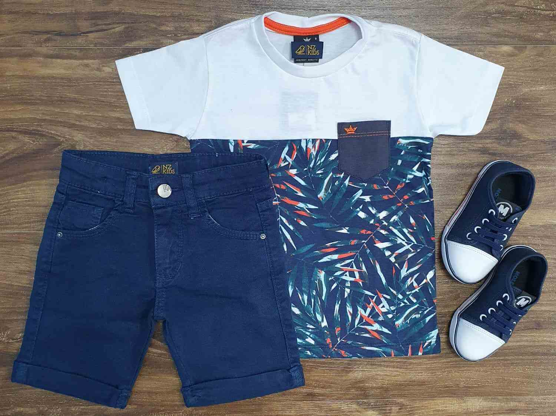 Camiseta Floral Azul com Bermuda Jeans Infantil