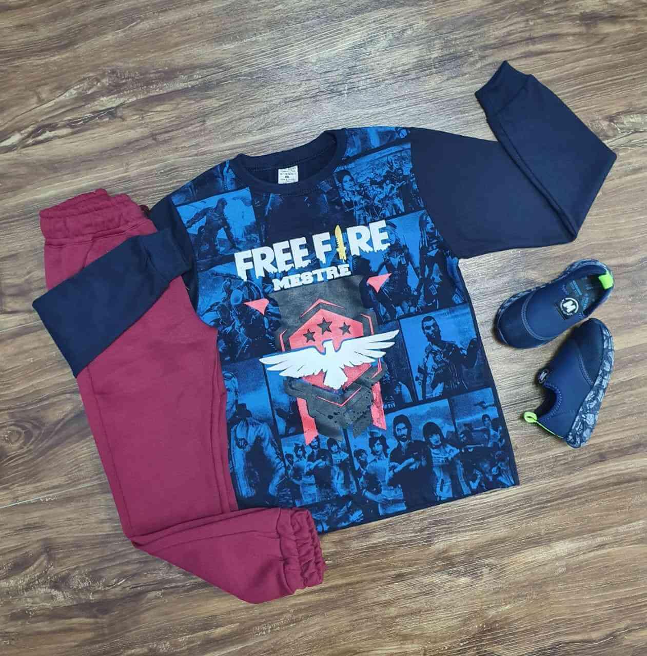Camiseta Freefire Manga Longa com Calça Infantil