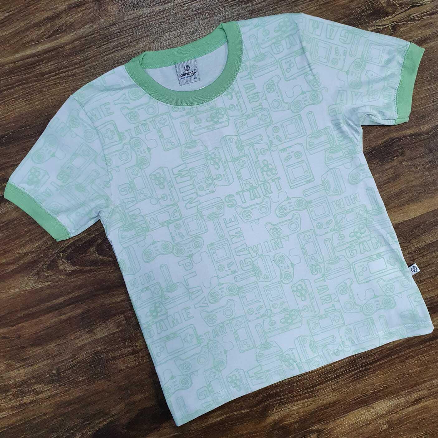 Camiseta Game Start Verde Agua Infantil