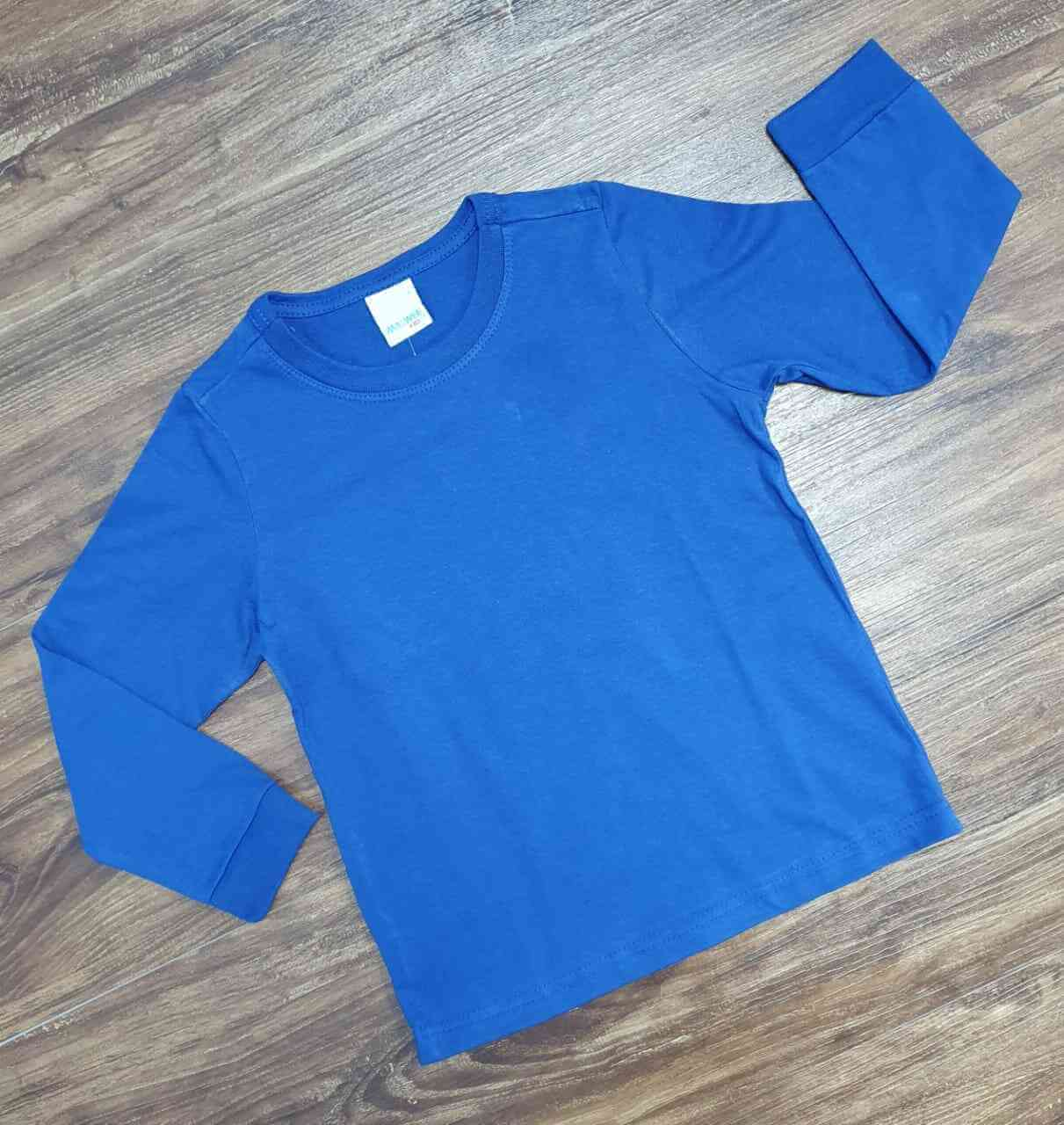 Camiseta Manga Longa Azul Infantil