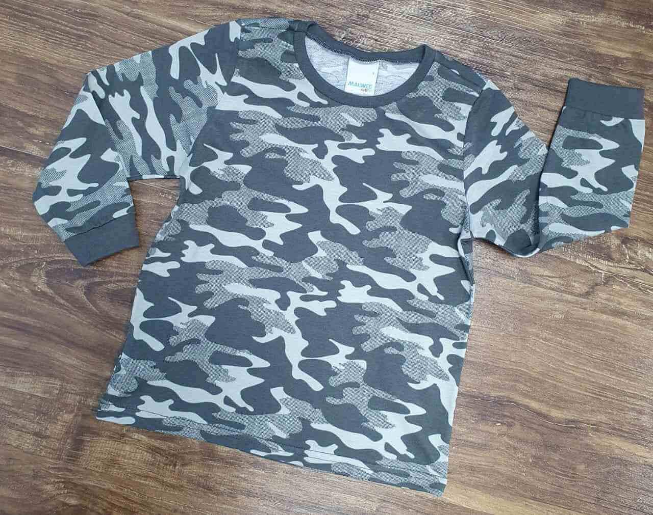 Camiseta Manga Longa Camuflada Infantil