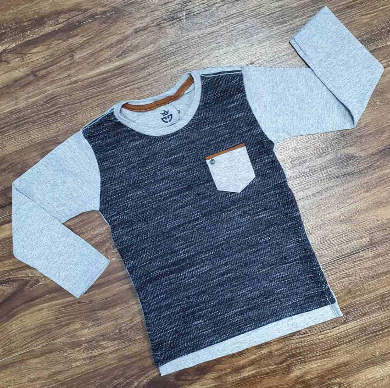 Camiseta Manga Longa Cinza Infantil
