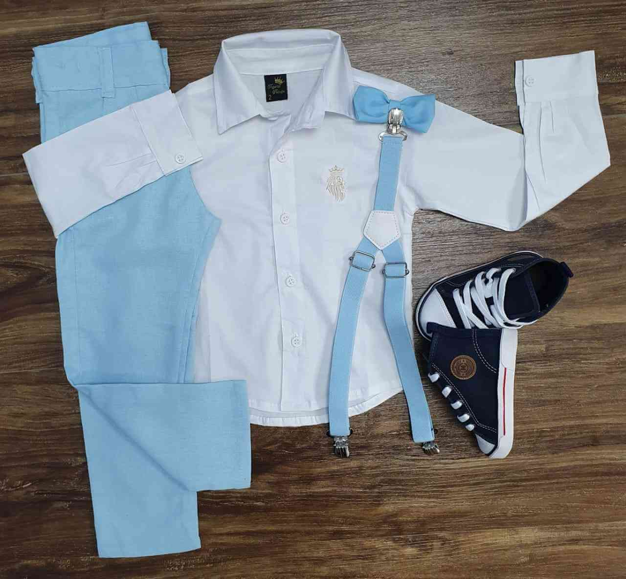 Camiseta Manga Longa com Calça Azul Infantil