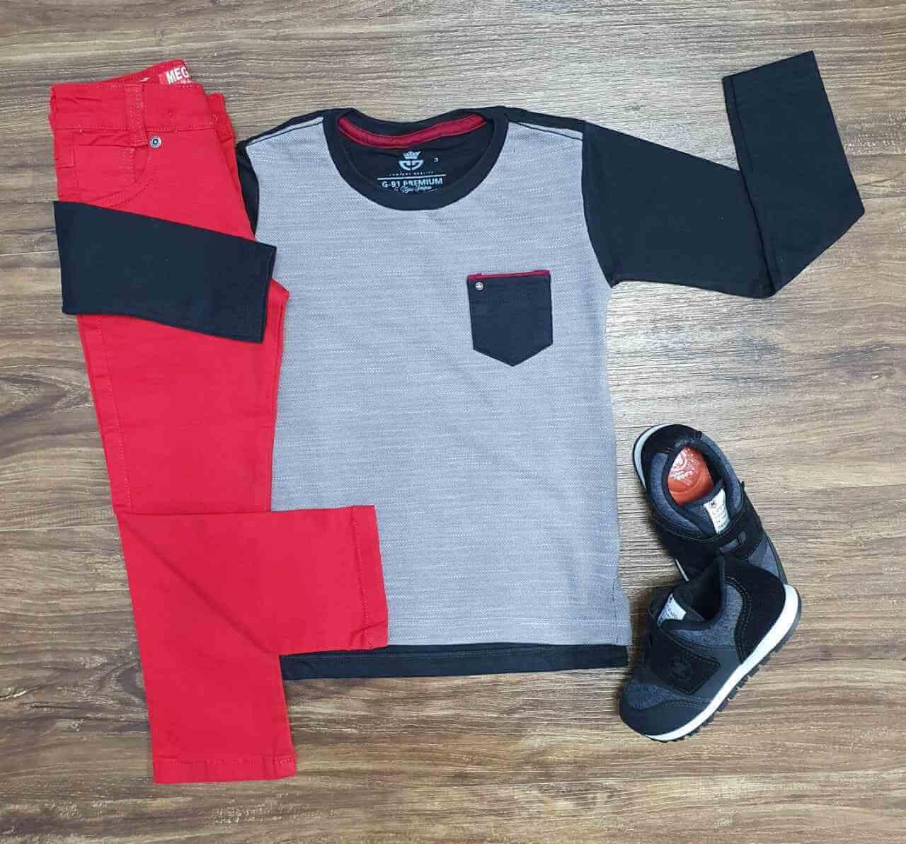 Camiseta Manga Longa com Calça Jeans Vermelha Infantil