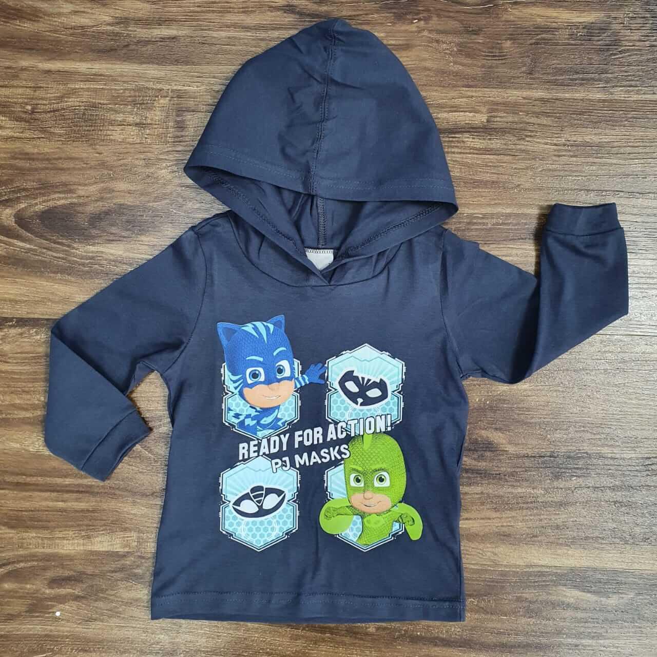 Camiseta Manga Longa com Capuz Pj Masks Infantil