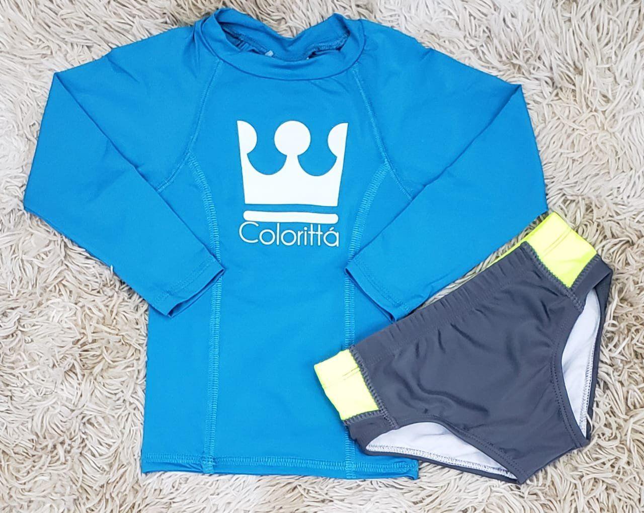 Camiseta Praia Manga Longa UV Azul Claro com Sunga