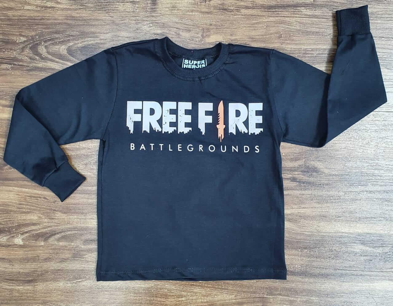 Camiseta Manga Longa Free Fire Infantil