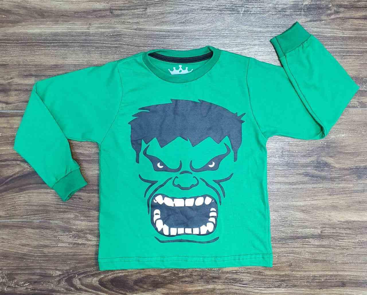 Camiseta Manga Longa Hulk Infantil