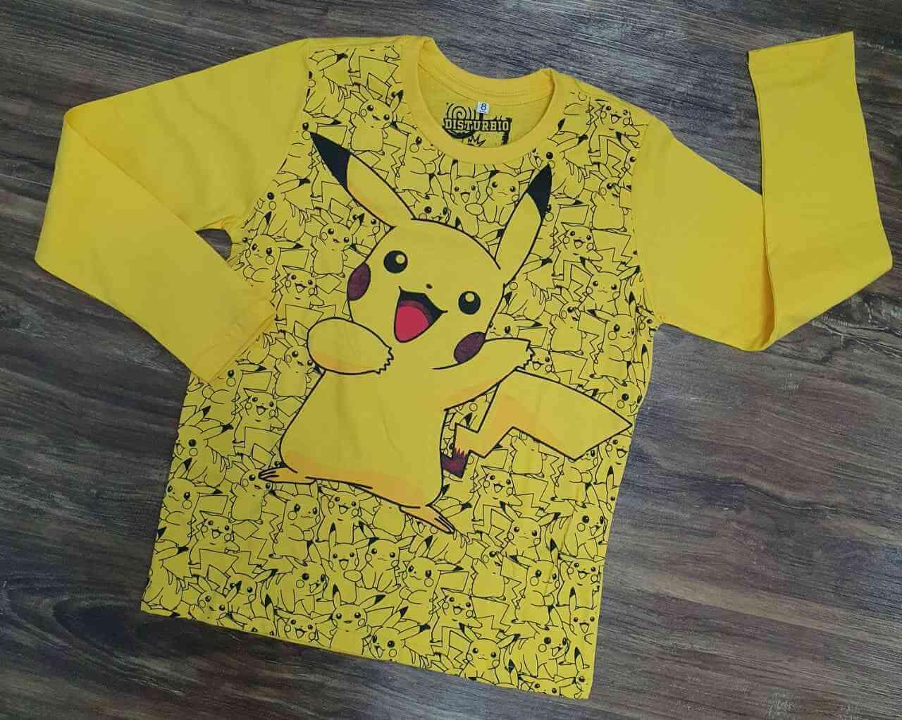 Camiseta Manga Longa Pikachu Infantil