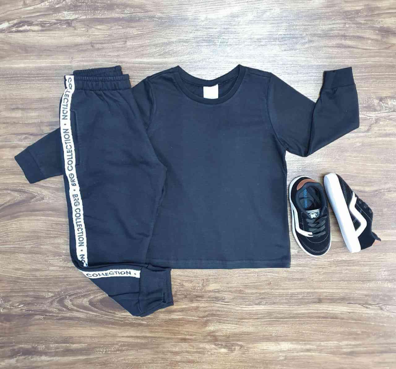 Camiseta Manga Longa Preta com Calça Moletom Infantil