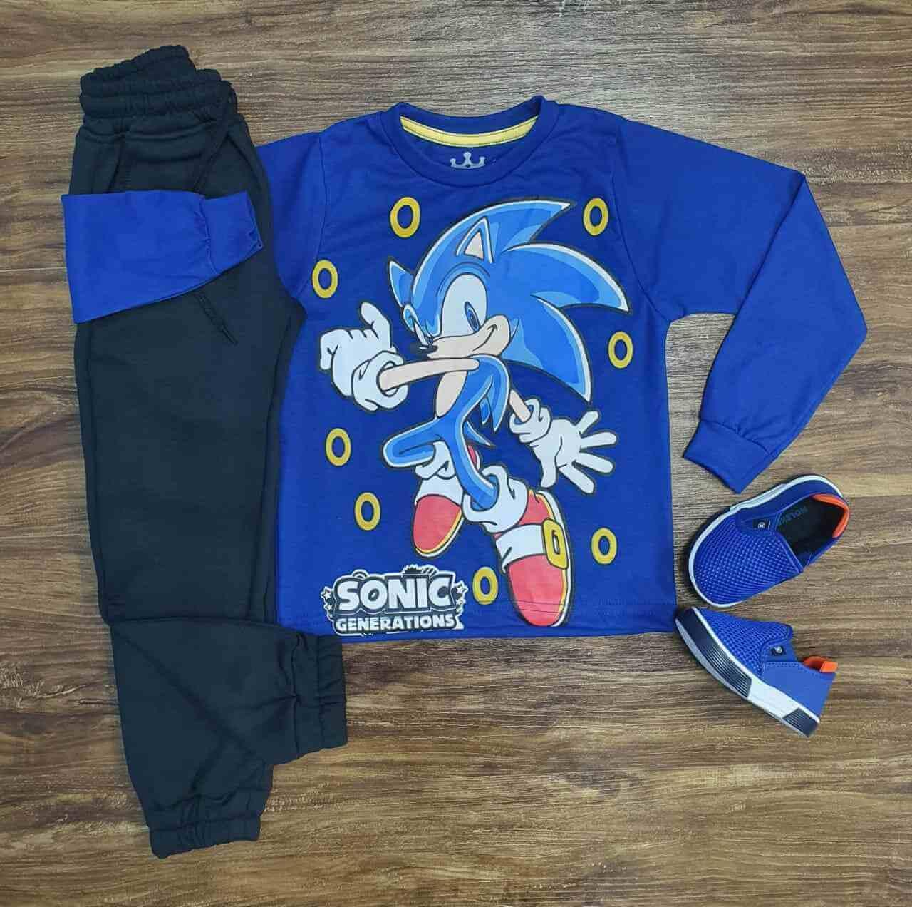 Camiseta Manga Longa Sonic com Calça Infantil