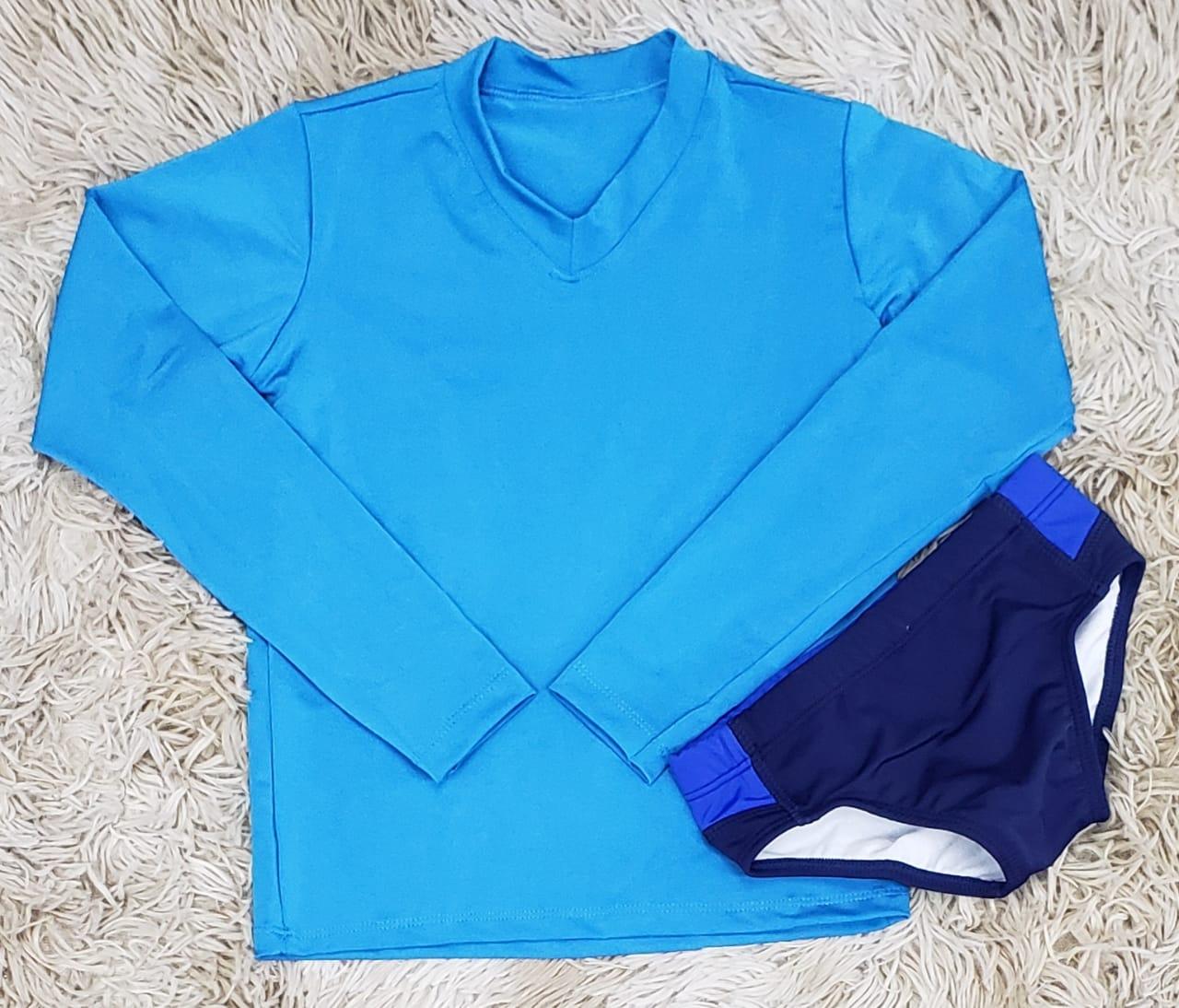 Camiseta Manga Longa UV Azul Claro com Sunga