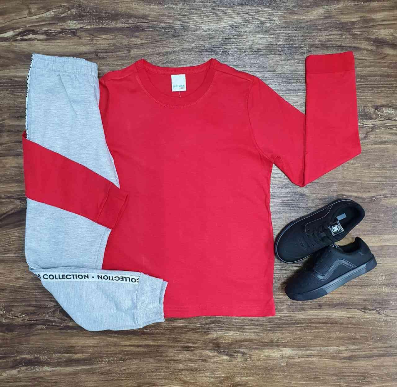 Camiseta Manga Longa Vermelha com Calça Infantil