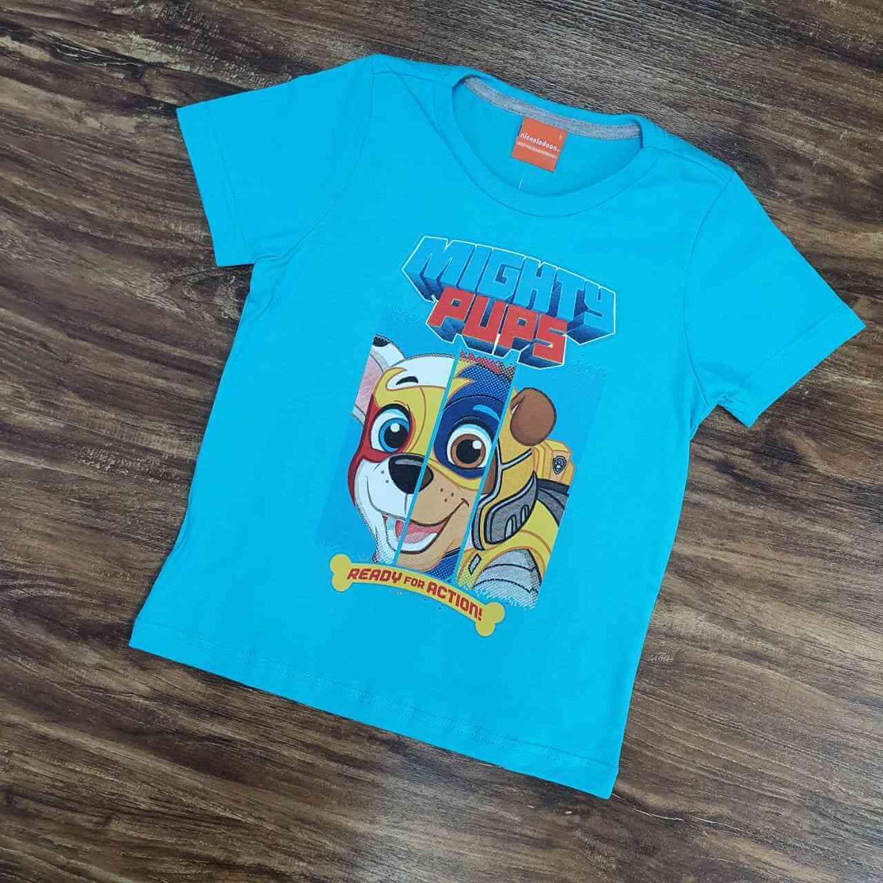 Camiseta Azul Mights Patrulha Canina Infantil