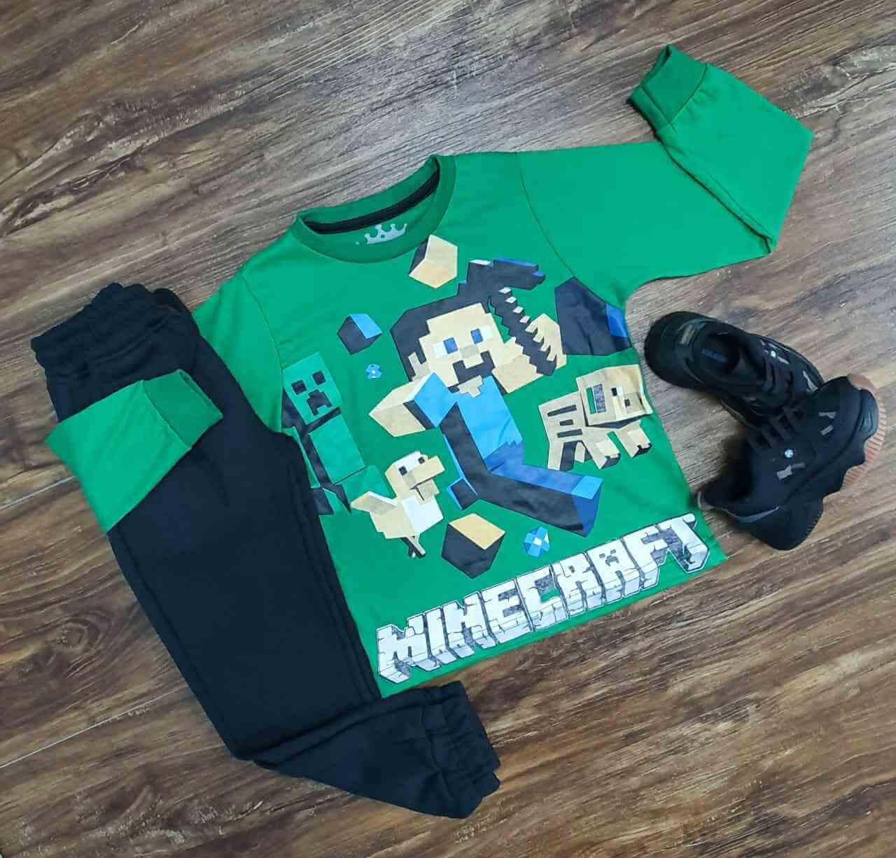 Camiseta MineCraft Manga Longa com Calça Infantil
