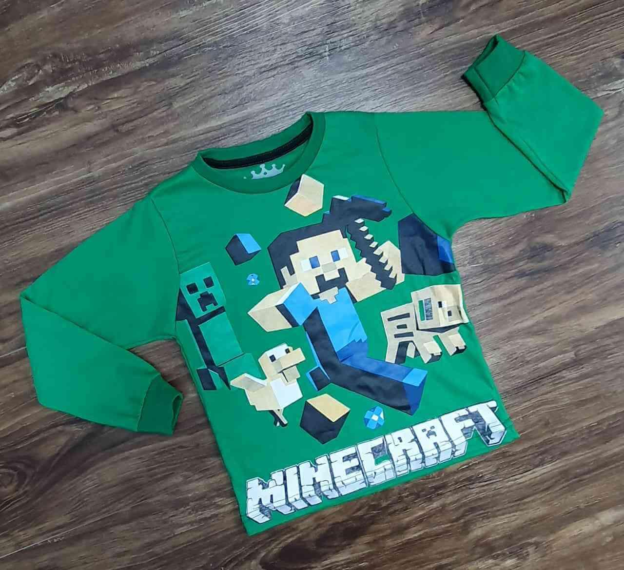 Camiseta MineCraft Manga Longa Infantil