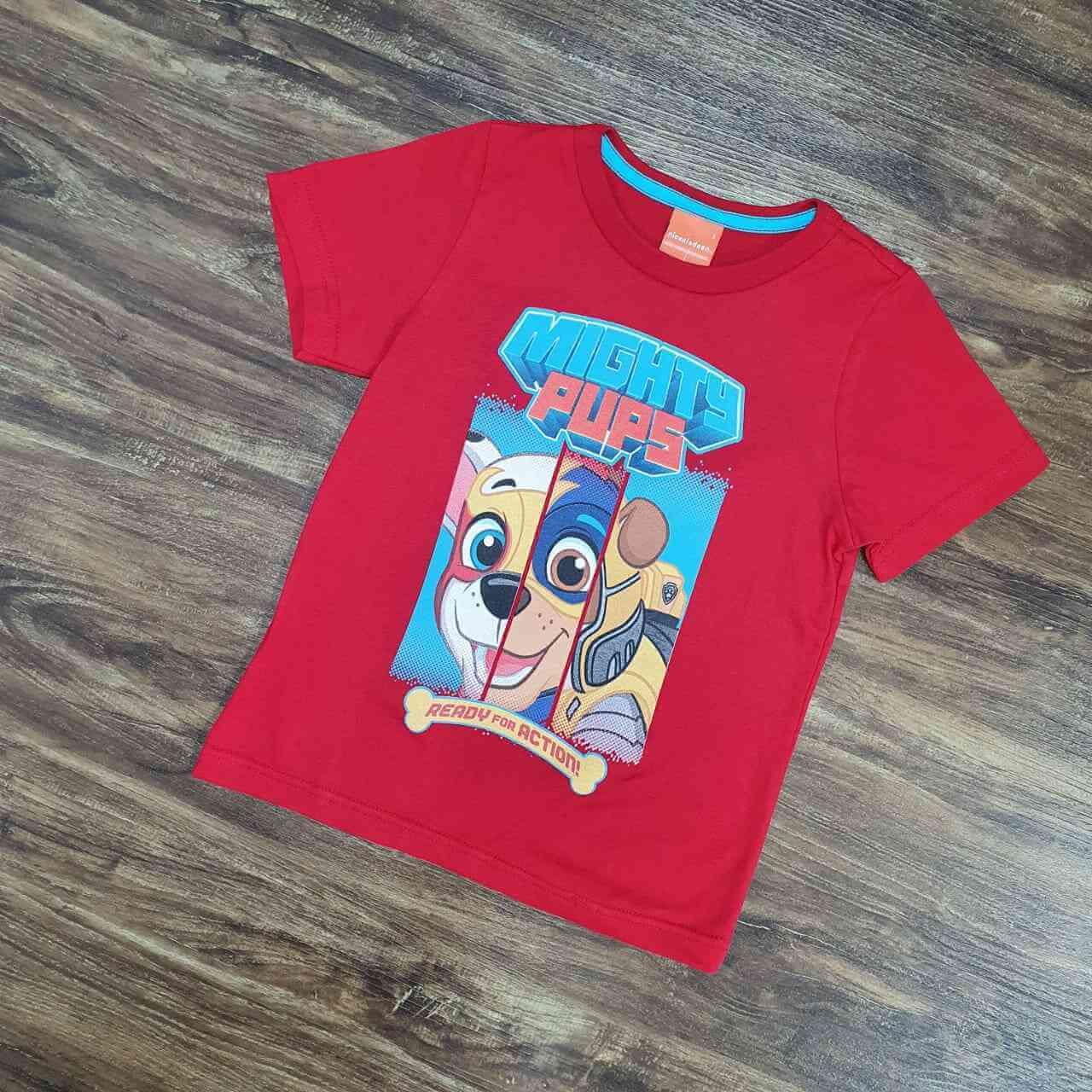 Camiseta Vermelha Mights Patrulha Canina Infantil