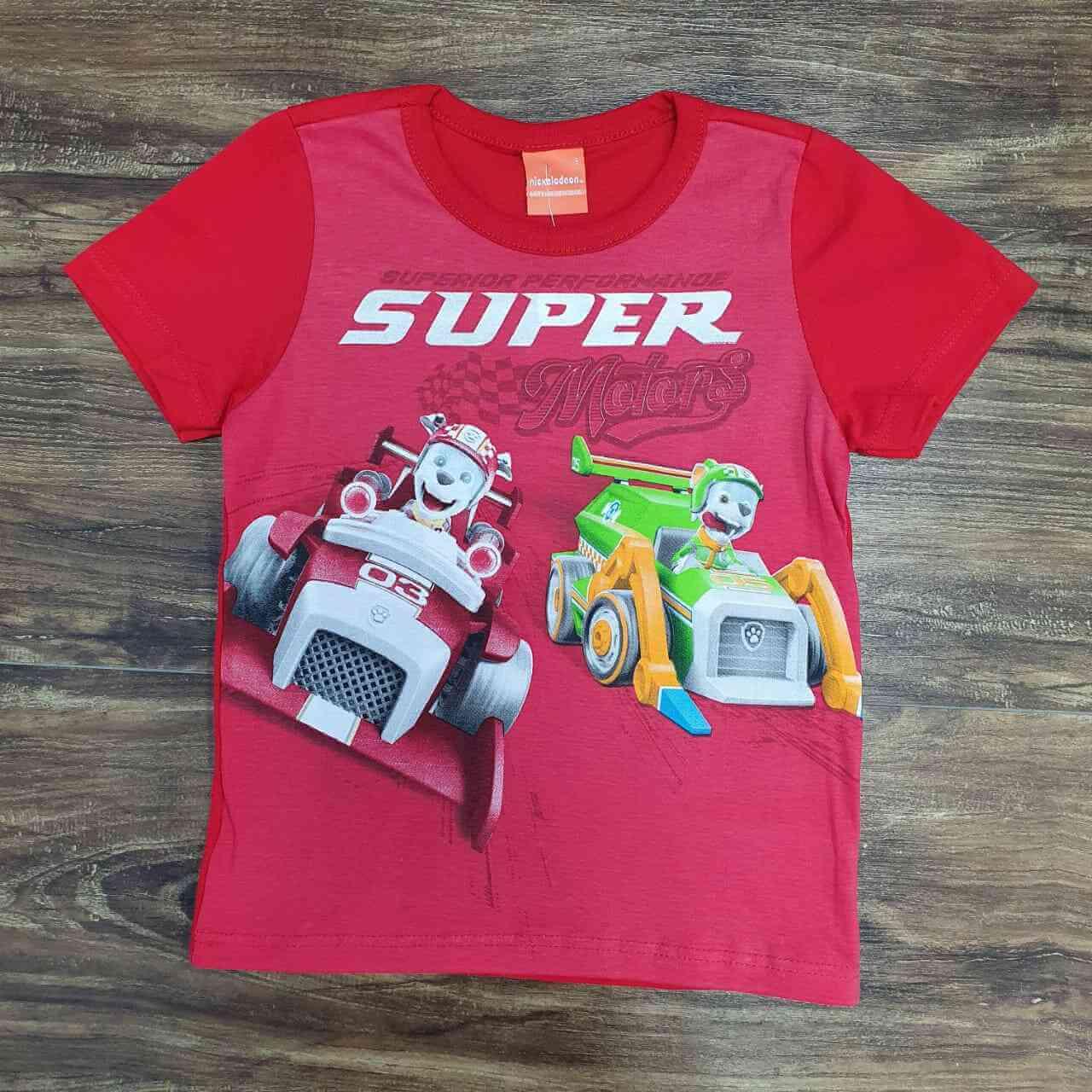 Camiseta Vermelha Super Patrulha Canina Infantil