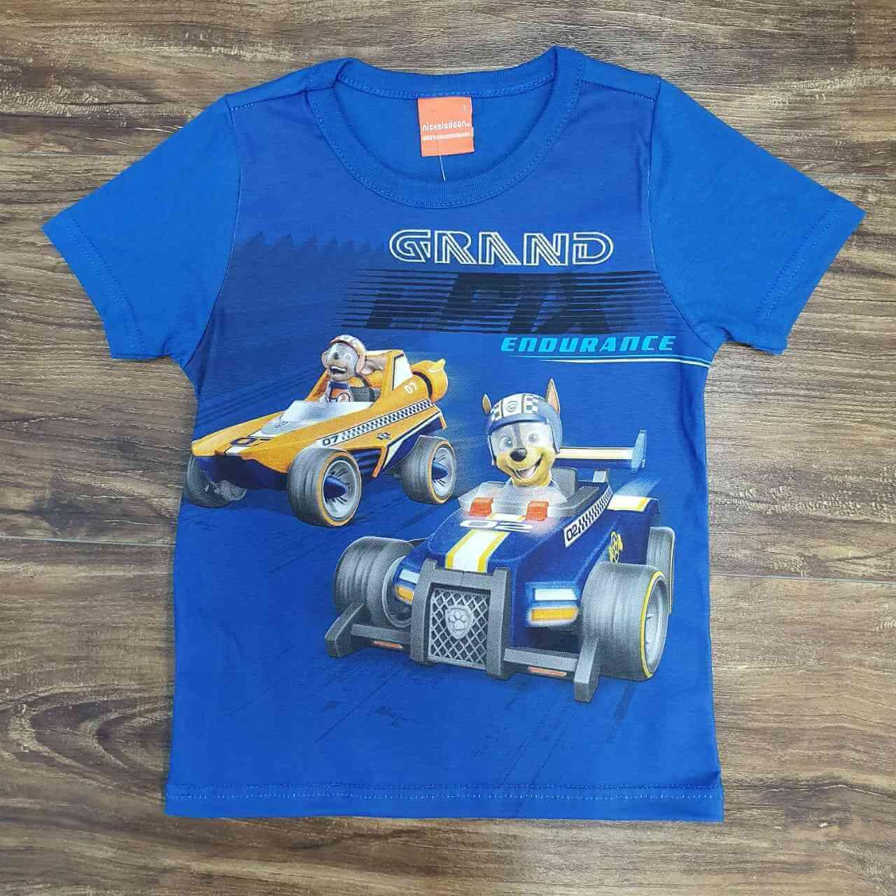 Camiseta Azul Grand Patrulha Canina Infantil
