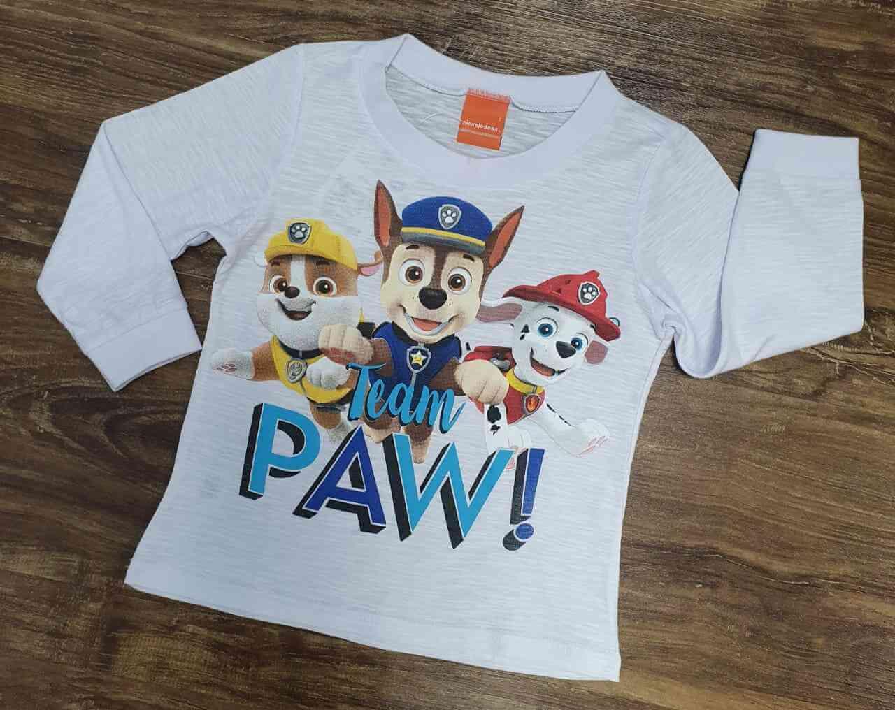 Camiseta Longa Branca Team Patrulha Canina Infantil