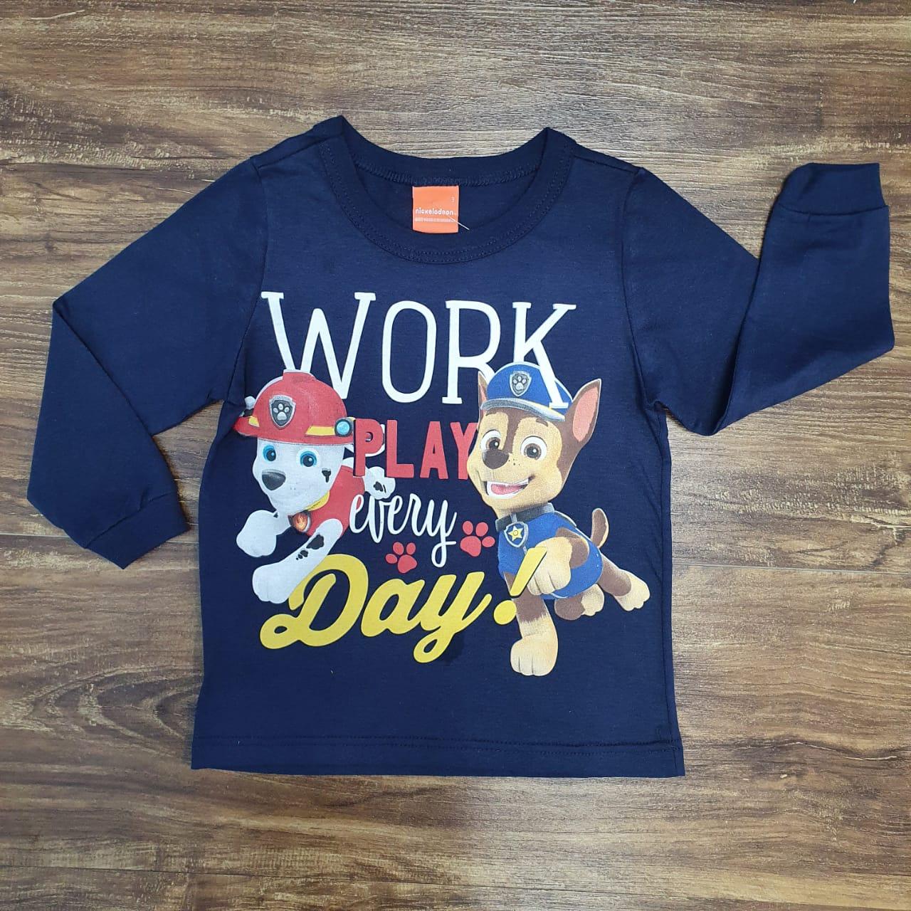 Camiseta Longa Azul Work Patrulha Canina Infantil