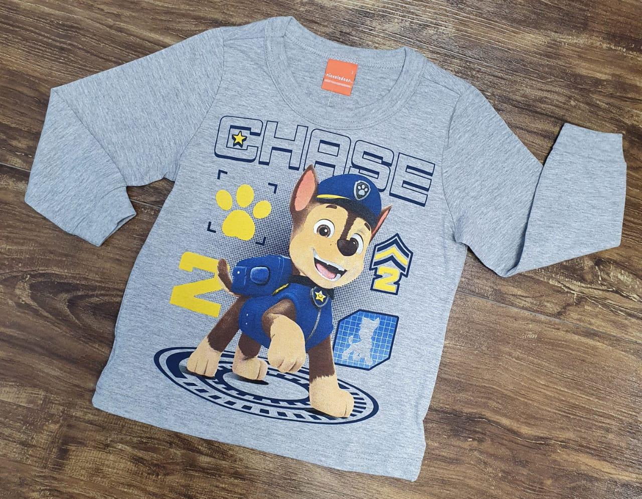 Camiseta Longa Cinza Chase Patrulha Canina Infantil