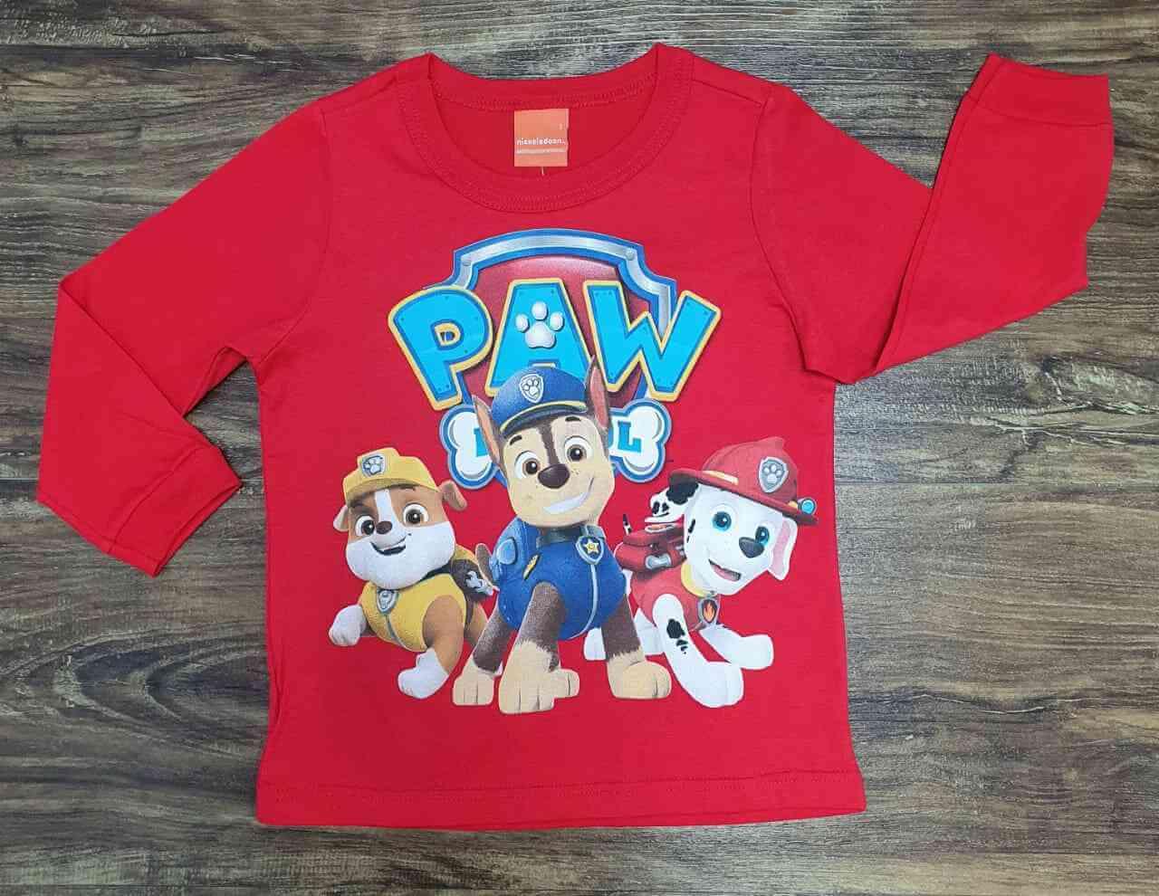 Camiseta Longa Vermelha Patrulha Canina Infantil