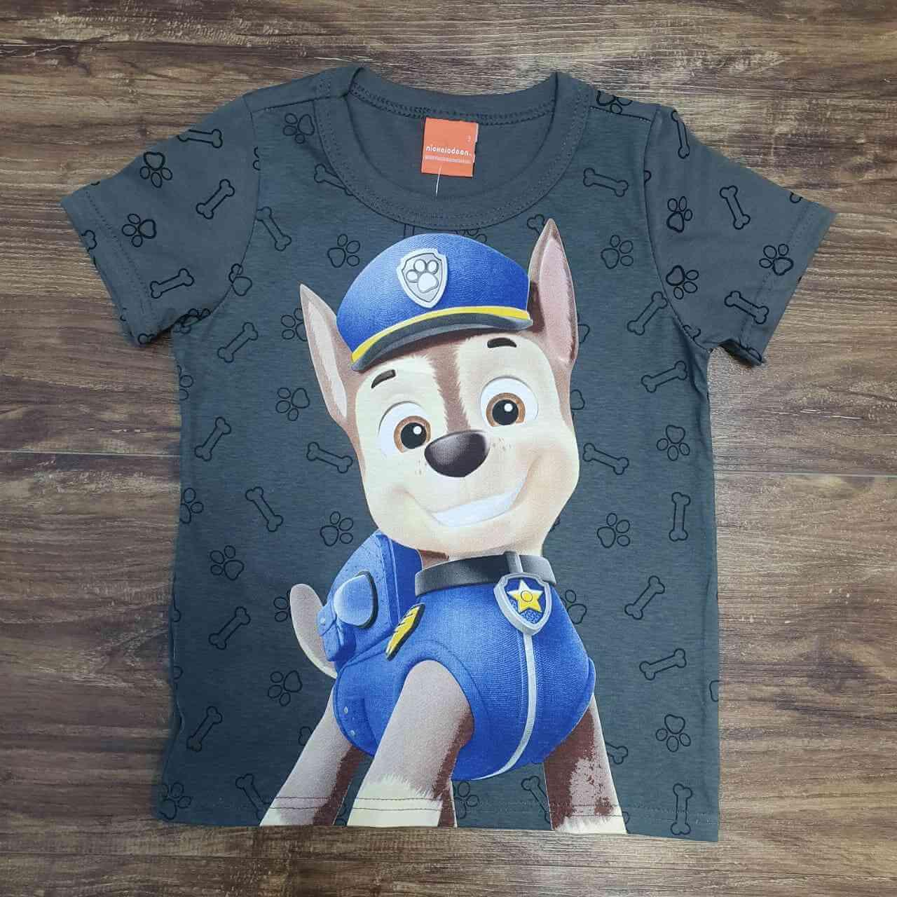 Camiseta Grafite Chase Patrulha Canina Infantil