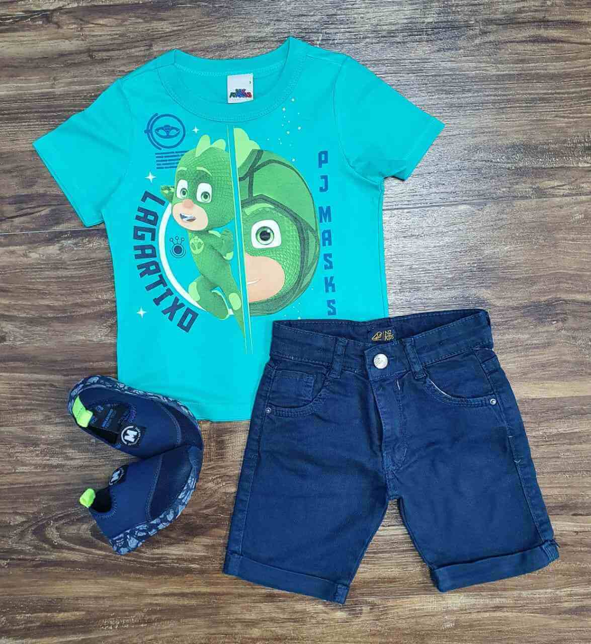 Camiseta PJ Masks com Bermuda Azul Infantil