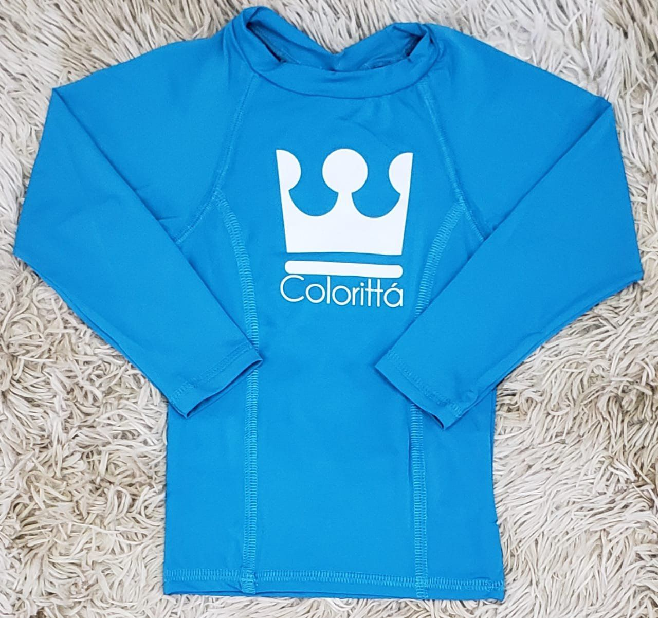 Camiseta Praia Manga Longa UV Azul Claro
