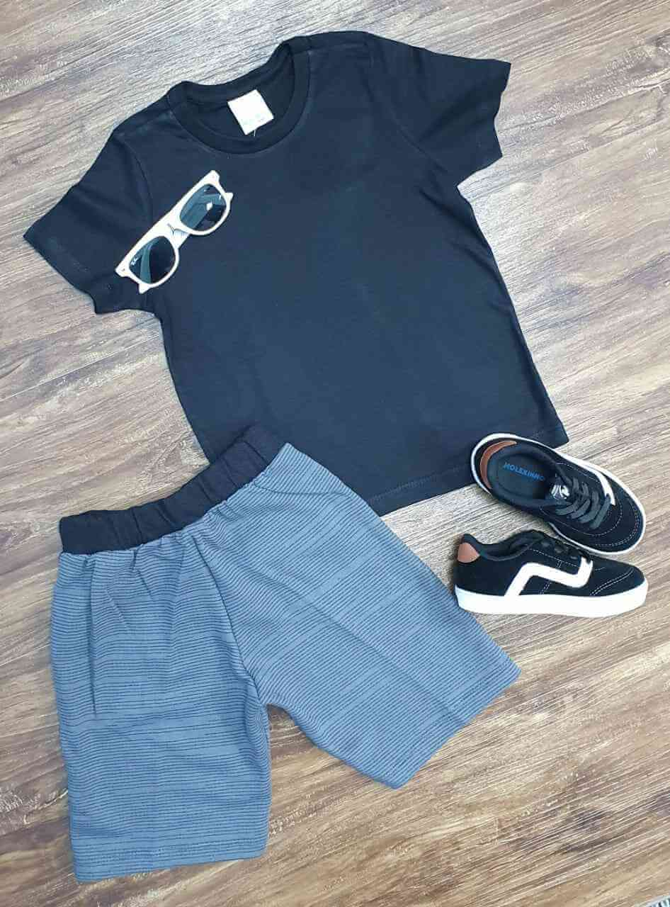 Camiseta Preta com Bermuda Infantil
