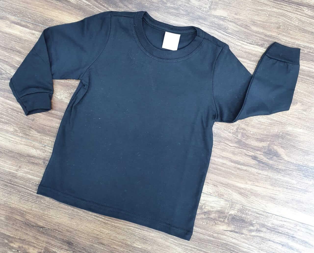 Camiseta Preta Manga Longa Infantil