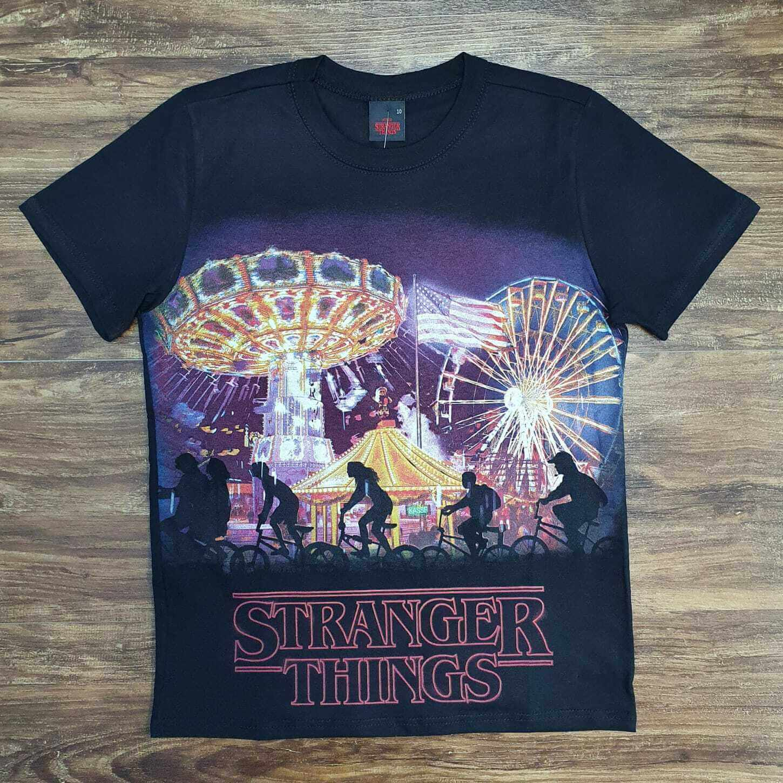 Camiseta Preta Stranger Things Infantil
