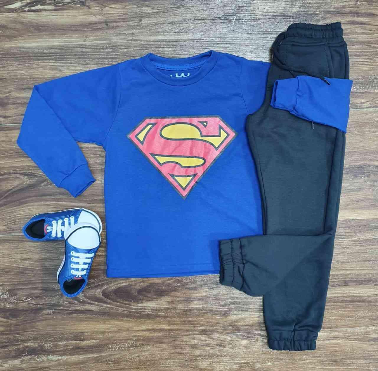 Camiseta Super Homem com Calça Moletom Infantil