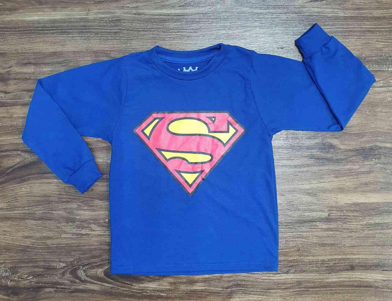 Camiseta Super Homem Manga Longa Infantil