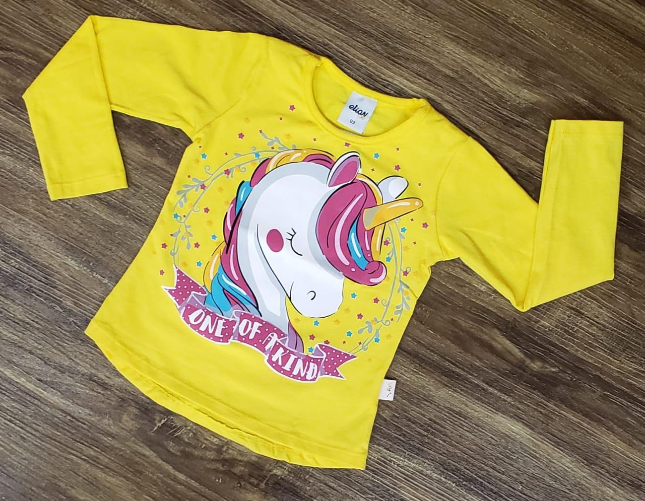 Camiseta Unicórnio Manga Longa