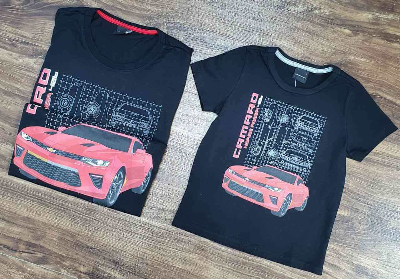 Camisetas Preto Camaro Pai e Filho (a)